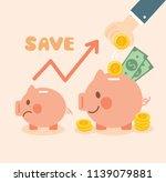growth money and saving piggy... | Shutterstock .eps vector #1139079881