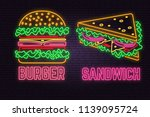 retro neon burger and sandwich... | Shutterstock .eps vector #1139095724