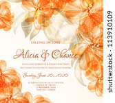 wedding card or invitation with ... | Shutterstock .eps vector #113910109