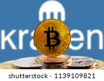 bitcoin btc on stack of... | Shutterstock . vector #1139109821