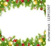christmas vintage border ... | Shutterstock .eps vector #113911507