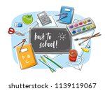 colorful set of school objects... | Shutterstock .eps vector #1139119067