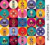 robots pattern | Shutterstock .eps vector #113912491