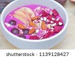 blended dragon fruit and yogurt ...   Shutterstock . vector #1139128427