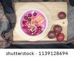 blended dragon fruit and yogurt ...   Shutterstock . vector #1139128694