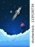 rocket in the sky  paper art... | Shutterstock .eps vector #1139130734