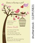 bird family baby shower... | Shutterstock .eps vector #113915821