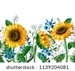 Border With Sunflowers Bouquet...