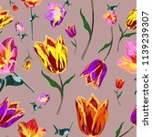 seamless colored tulips | Shutterstock .eps vector #1139239307