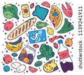food wastage doodle clipart.... | Shutterstock .eps vector #1139241911