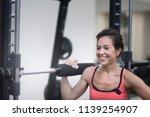 beautiful brunette middle age... | Shutterstock . vector #1139254907