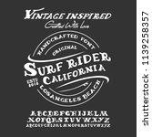 handmade typeface 'surf font'.... | Shutterstock .eps vector #1139258357