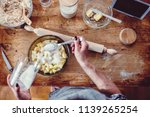 woman wearing grey apron making ... | Shutterstock . vector #1139265254