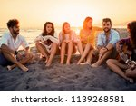 group of young friends... | Shutterstock . vector #1139268581