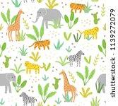 cute animals in jungle. vector... | Shutterstock .eps vector #1139272079