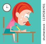 stressed student taking exams... | Shutterstock .eps vector #1139281901