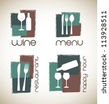 Icons Of Menu And Wine  Over...