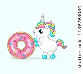 cute baby unicorn playing with... | Shutterstock .eps vector #1139293034