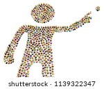 crowd of small symbolic figures ...   Shutterstock . vector #1139322347