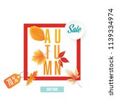 autumn sale flyer template with ... | Shutterstock .eps vector #1139334974