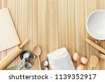 top view baking tools on table... | Shutterstock . vector #1139352917