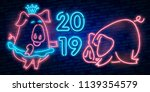 neon pig. symbol of 2019 year.... | Shutterstock .eps vector #1139354579