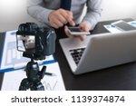 vlogger using  laptop  sharing... | Shutterstock . vector #1139374874