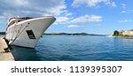 luxury motor yacht in a harbor... | Shutterstock . vector #1139395307