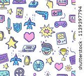 video game doodle seamless... | Shutterstock .eps vector #1139397794