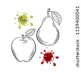 set of apple and pear sketch.... | Shutterstock .eps vector #1139400041