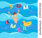 a man floating on the waves in... | Shutterstock .eps vector #1139412104