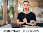 woman trying online internet... | Shutterstock . vector #1139422097