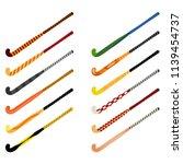 set of hockey sticks on grass... | Shutterstock .eps vector #1139454737