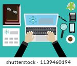 top view workplace with... | Shutterstock .eps vector #1139460194