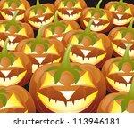 scary jack o lantern halloween... | Shutterstock .eps vector #113946181