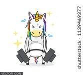 funny unicorn lifting barbell...   Shutterstock .eps vector #1139469377
