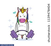 funny unicorn drawing lifting... | Shutterstock .eps vector #1139478404