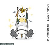 funny unicorn drawing lifting... | Shutterstock .eps vector #1139478407