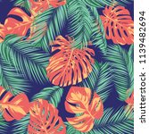 summer exotic floral tropical... | Shutterstock .eps vector #1139482694