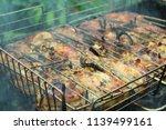 preparation of a shish kebab... | Shutterstock . vector #1139499161