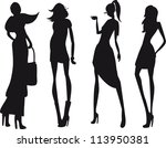 silhouette fashion girls | Shutterstock .eps vector #113950381