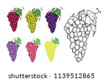 set of colorful icons of grapes.... | Shutterstock .eps vector #1139512865