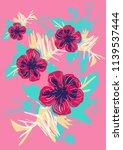 hand drawn tropical vector... | Shutterstock .eps vector #1139537444