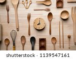 kitchen utensils and clock for... | Shutterstock . vector #1139547161