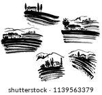 set of vineyard landscapes | Shutterstock .eps vector #1139563379