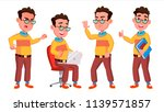 boy schoolboy kid poses set... | Shutterstock .eps vector #1139571857
