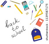 set of school items with... | Shutterstock .eps vector #1139587175
