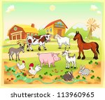 Farm Animals With Background....