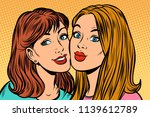 two girl girlfriends portrait.... | Shutterstock .eps vector #1139612789