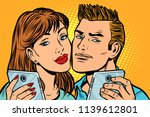 young couple selfie on... | Shutterstock .eps vector #1139612801
